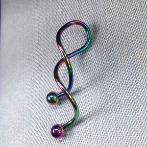 Rainbow Swirl Belly Button Navel Ring
